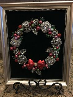 Vintage Jewelry Crafts Wreath on black velvet mix of old and new Jewelry. By Beth Turchi 2015 Christmas Jewelry, Christmas Art, Christmas Wreaths, Christmas Ornaments, Costume Jewelry Crafts, Vintage Jewelry Crafts, Jeweled Christmas Trees, Jewelry Tree, Diy Jewelry