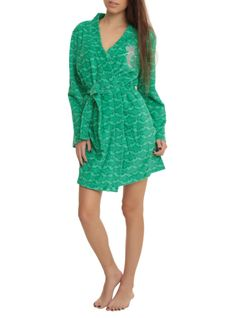 """Green robe from The Little Mermaid with an Ariel """"Part of your World"""" design."""
