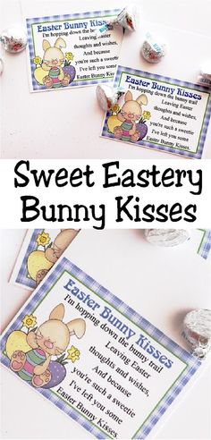 This printable bag topper is perfect for Easter baskets or Easter party favors.  With such a cute saying and fun Easter bunny, these Easter bunny kisses are the