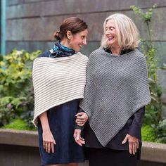 Twice Reversible Ribbed Poncho  - Knitting Pattern - Churchmouse Yarns - 1