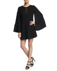 Long-Sleeve+Cape+Dress++by+Nanette+Lepore+at+Bergdorf+Goodman.