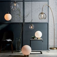 Overarching Acrylic Shade Floor Lamp - Antique Brass/Smoke #westelm