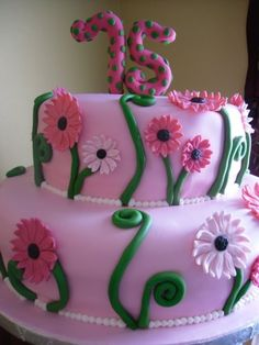 75th birthday cake ideas | Cake Whimsy: Gerbera Daisy 75th Birthday Cake