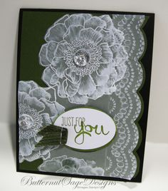 """Vellum Bloom4"""" x 5 1/4"""" vellum stamped the images I wanted in Whisper White Craft and then embossed the sheet using Delicate Designs embossing folder. I mounted it all on a standard 8 1/2"""" x 5 1/2"""" piece of Mossy Meadow card stock."""