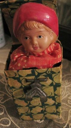 Antique - Celluloid Child Jack in the Box Toy for Dolls
