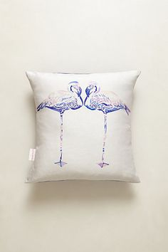 Flamingo Pillow #anthropologie Knock Off Idea: hand stamp fabric before its sewn into a pillow.