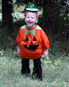 quick & easy last-minute halloween costume. Orange t-shirt jack o lantern