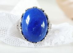 New CHUNKY Sterling Silver 925 Blue Lapis Fleur De Lis Bold Oval Ring Size 7 #QVC #Solitaire