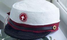Se hækleopskriften her. Chrochet, Knit Crochet, Captain Hat, Retro, Knitting, Accessories, Smuk, Tops, Student