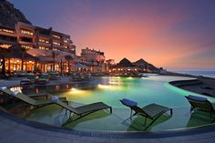 Located between San Jose del Cabo and Cabo San Lucas, the hotel is located on the tip of the peninsula. It can be reached via the only private tunnel in . Cabo San Lucas Mexico, Cool Swimming Pools, Best Swimming, San Jose Del Cabo, Bangkok, Dubai, Madrid, Mexico Honeymoon, Tokyo