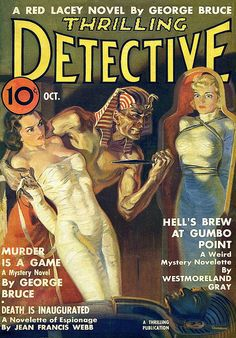 "Thrilling Detective 1937 Oct. Cover art by Norman ""Blaine"" Saunders."