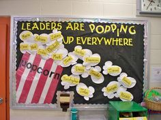 Popcorn theme-someone had a popcorn welcome board at our school.perhaps a bulletin bd inside of class? Counseling Bulletin Boards, Classroom Bulletin Boards, Classroom Themes, Classroom Displays, Classroom Organization, Counseling Posters, Popcorn Bulletin Boards, Popcorn Theme Classroom, Leadership Bulletin Boards