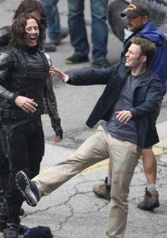 Captain America Winter Soldier - Chris Evans and Stan Sebastian's stunt double