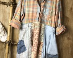 One of a Kind, Upcycled Clothing, Bags, & Accessories by SerendipityDesigner Rustic Outfits, Vintage Outfits, Diy Clothing, Sewing Clothes, Creative Textiles, Recycling, Shirt Refashion, Sustainable Clothing, Plus Size Outfits