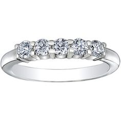 18K White Gold Five Diamond Ring (1/2 ct.tw.)