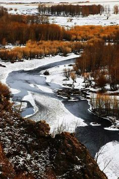 Mongolia river in winter Marco Polo, Central Asia, Footprints, Rivers, Geography, Philippines, Natural Beauty, Medieval, Scenery