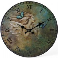 Angel with Blue Butterflies Large Circular Wall Clock