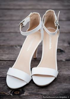 White heels for wedding day -open-toe heels for bride - See more details from this day on WeddingWire! {Porterhouse Los Angeles}