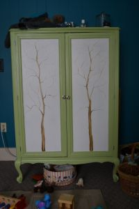 We got this armoire from a friend in college and used it as a entertainment center it has now been re-purposed into a dresser for son!