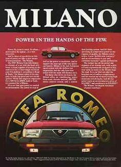 """paperink id: ads8017 MILANO Alfa Romeo 1987 Sport Sedan Automobile AD This is a paper AD measuring approximately 8"""" x 11"""" Ad is in Very Good Condition as shown and ready to frame. This is an ORIGINAL"""