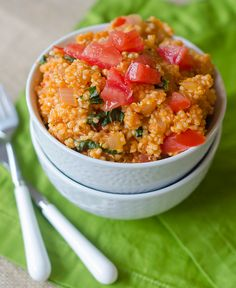 Tomato-Basil Quinoa.      Made this 07/19/12 and am definitely keeping it in the recipe books!  James suggests less parmesan (1/3c) and maybe heating it after the tomatoes are in.