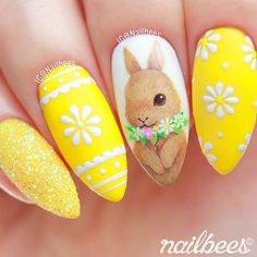 holiday Nails yellow - 61 Cute Easter Nail Designs You Have to Try This Spring Easter Nail Designs, Easter Nail Art, Nail Art Designs, Nails Design, Cute Nails, Pretty Nails, Quilted Nails, Tulip Nails, Flower Nails