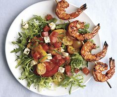 Grilled Shrimp Salad with Feta, Tomato, and Watermelon by Fine Cooking