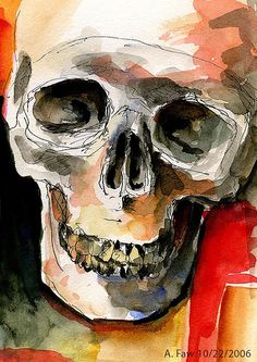 Skull Sketch by AFAW, via Flickr Love the mixed media. Looks like ink and watercolor...