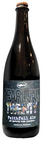 Cerveja Dogfish Head Pearl Jam Twenty Faithfull Ale, estilo Belgian Golden Strong Ale, produzida por Dogfish Head Craft Brewed Ales, Estados Unidos. 7% ABV de álcool.