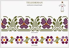 Semne Cusute: Romanian traditional motifs MUNTENIA, Teleorman Folk Embroidery, Embroidery Patterns, Cross Stitch Patterns, Hama Beads, Cross Stitching, Beading Patterns, Pixel Art, Diy And Crafts, Kids Rugs