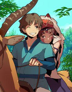 mtr2amd:  「もののけ姫」/「shihou」のイラスト [pixiv] san and ashitaka mononoke hime