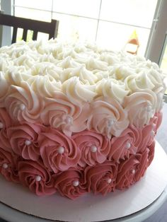 Rose ombre first birthday cake