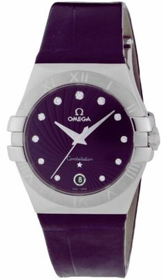 a6b3a5d3d19 Omega Constellation Purple Diamond Dial Stainless Steel Purple Alligator  Ladies Watch 123.13.35.60.60.001