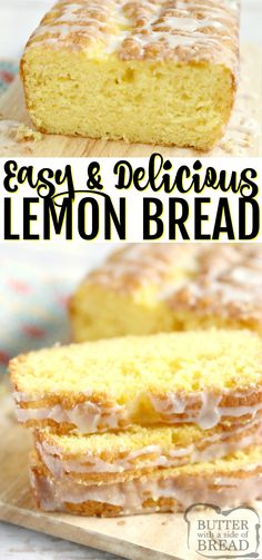 EASY LEMON BREAD Easy Lemon Bread is moist, full of lemon flavor and made with only five ingredients! This lemon bread recipe is easy to make and is soft and delicious! Best Bread Recipe, Easy Bread Recipes, Pound Cake Recipes, Baking Recipes, Lemon Recipes Easy, Sweet Recipes, Lemon Desserts, Köstliche Desserts, Delicious Desserts