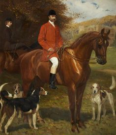 Colonel Frederic Courtenay Morgan in front of Ruperra Castle with His Daughter, the Honourable Violet Wilhelmina Morgan the Honourable Mrs Basil St John Mundy Artist: John Charlton Hunting Art, Fox Hunting, Hunting Painting, Equestrian Decor, Vintage Horse, Horse Drawings, Art Uk, Equine Art, Sports Art