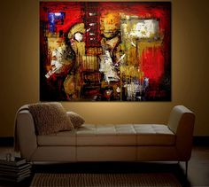 Made to Order Original Painting Modern Abstract Art by Guitar Drawing, Guitar Painting, Music Painting, Painting Art, Original Paintings, Original Art, Abstract Art, Abstract Paintings, Mixed Media Painting