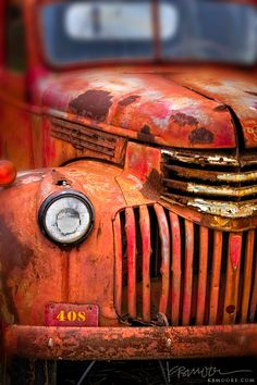 a fabulous image of a rusty red truck -- one of 8 picks for this week's Friday Favorites