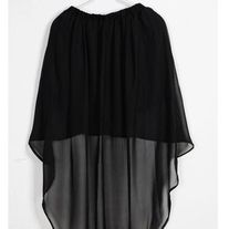 ∆: Daygones Boutique :∆    Avantgarde Sheer Elastic Ruffle Waist Band Chiffon Asymmetrical Skirt     Also with Built in Knee length Opaque Liner    Material: Chiffon      Available in: Black, Burgundy, Light Pink, Gray    Waist: 22 - 32.3 inch / 56 - 82cm  Front Length: Approx. 16 inch / 41cm  Back Length: Approx. 32 inch / 81cm  $20