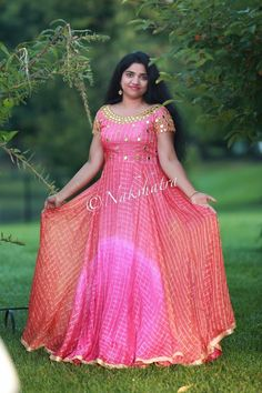 Anarkali Long Gown Dress, Frock Dress, Long Frock, Saree Dress, Kalamkari Dresses, Ikkat Dresses, Sari Blouse Designs, Dress Neck Designs, Designer Gowns
