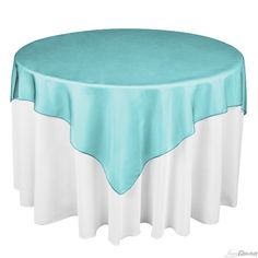 Buy 72 inch square turquoise organza table overlay to match your wedding tablecloths at LinenTablecloth! Table overlays add a dramatic impact to your overall table linen ensemble.