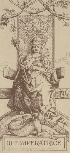 The Empress - Tarot Dürer by Giacinto Gaudenzi. This card symbolizes one of the stages of the Fool's Journey towards self-discovery. The Fool stands for all of us. Albrecht Durer, Renaissance, Le Tarot, Hans Holbein, Art Carte, Landsknecht, Illustration, Tarot Readers, Major Arcana