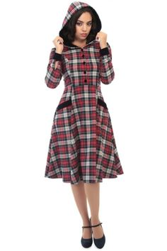 Collectif Vintage Ruby Sherwood Check Hooded Swing Dress