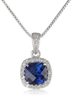 Sterling Silver Checkerboard Cushion Created Blue and White Sapphire Halo Pendant Necklace * You can get additional details at the image link.(This is an Amazon affiliate link and I receive a commission for the sales)