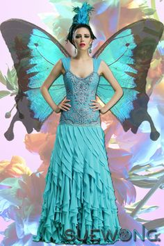 Sue Wong Embroidered Bodice with Cascading Ruffle Skirt - Turquoise Butterfly