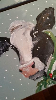 You could paint a cow for every season :) Christmas Canvas, Christmas Paintings, Christmas Art, Cow Pictures, Pictures To Paint, Cow Painting, Painting & Drawing, Farm Art, Cow Art