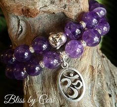 Amethyst Laughing Buddha & Ohm Beaded Stretch Bracelet Duo  *FREE SHIPPING* by BlissbyCori on Etsy $50.00