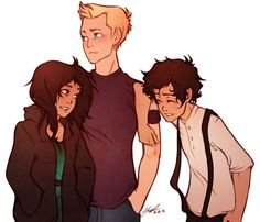 Jason Grace / Piper Mclean / Leo Valdez / Heroes of Olympus art by emirra Percy Jackson Fan Art, Percy Jackson Fandom, Jason Grace, Piper E Jason, Solangelo, Percabeth, Magnus Chase, Percy And Annabeth, Annabeth Chase