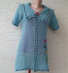 Crochet woman vest with ribbon flowers aqua by KnitterPrincess