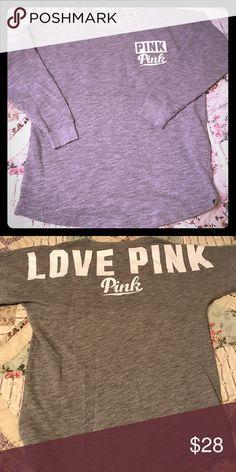 PINK VICTORIA SECRET Gray crew sweatshirt Sz XS. No stains. PINK Victoria's Secret Tops Sweatshirts & Hoodies