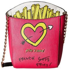 Betsey Johnson Kitsch French Fries Crossbody (Fuchsia) Cross Body... (€60) ❤ liked on Polyvore featuring bags, handbags, shoulder bags, chain strap shoulder bag, betsey johnson crossbody, pink shoulder handbags, betsey johnson purses and pink shoulder bag